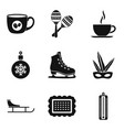 coffee time icon set simple style vector image