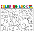coloring book horse with foal theme 2 vector image vector image