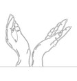 continuous line drawing of hands holding something vector image vector image