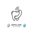 dental care icon tooth and phone handset thin vector image