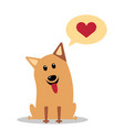 dog with heart in thought cloud vector image