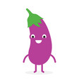 eggplant cute vegetable character vector image vector image