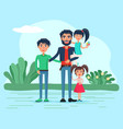 family together on summer vacation childhood vector image vector image