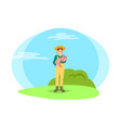 farmer woman and pig in hands vector image vector image