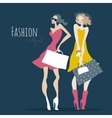 Fashion girls Women with shopping bags vector image vector image