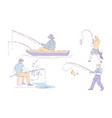 fisherman fishing sport catching fish and angling vector image