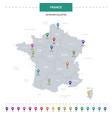 france map with location pointer marks vector image vector image
