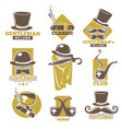 gentlemen club logo labels set on white colorful vector image vector image