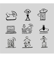 Hand drawn cloud concepts black icon set vector image