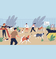 happy smiling people playing with dogs vector image vector image