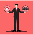 home or work businessman scale vector image vector image