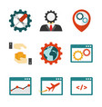 internet marketing flat icons vector image vector image