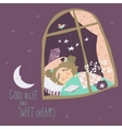 Little girl sleeping by the window vector image vector image