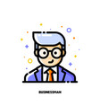 male user avatar of businessman icon of cute boy vector image