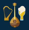 mandolin with harp and beer vector image