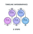 modern 5 steps timeline infographic template vector image