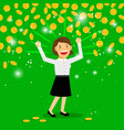 money rain and happy woman vector image