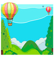 Nature scene with balloon over hills vector image