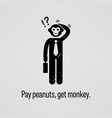 pay peanuts get monkey a motivational and vector image vector image