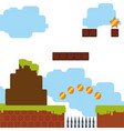 pixelated scenery videogame vector image vector image