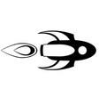 rocket flying horizontally starship vector image vector image