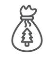 santas bag line icon christmas and gift vector image vector image