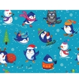 Seamless pattern with funny penguins isolated on vector image