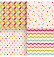 set abstract retro geometric seamless patterns vector image vector image