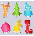 Set six icons snowman wearing scarf hat deer head vector image