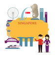 singapore landmarks people in traditional vector image vector image