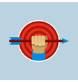 target and hand holding arrow in flat style vector image vector image