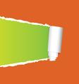 tearing paper on orange vector image vector image