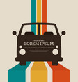 travel concept retro vintage car poster background vector image vector image