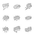 trendy text icons set outline style vector image vector image