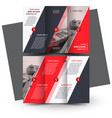 tri-fold red brochure design template vector image