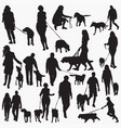 walk with dog silhouettes vector image