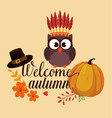 welcome autumn card with owl vector image