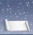 winter card with snowflakes and frame for text vector image