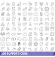 100 support icons set outline style vector image vector image