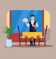 a waiter with covered tray in cafe flat vector image
