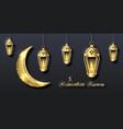 arabian poster for ramadan kareem golden lanterns vector image vector image