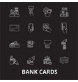 bank cards editable line icons set on black vector image vector image