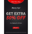 Banner Get Extra 50 percent on vector image vector image
