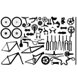Bicycle part silhouettes vector image