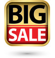 big sale golden label with red ribbon vector image vector image