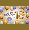 birthday poster with golden number celebration vector image