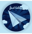 Blue paper airplane vector image