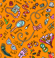 bright orange seamless pattern with woman vector image vector image