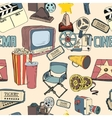 Colored doodle cinema seamless wallpaper vector image vector image