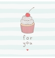 Cute greeting card with cupcake vector image vector image